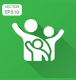 family greeting with hand up icon in flat style vector image vector image