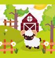farm animals cute goat barn wooden fences flowers vector image vector image