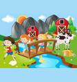 farm scene with children crossing the bridge vector image vector image