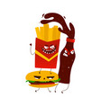 flat cartoon angry fastfood monsters vector image