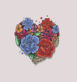 floral rose heart shape vector image vector image