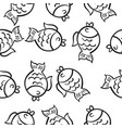 hand draw fish doodle style vector image vector image