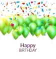 happy birthday card with green balloons and vector image vector image