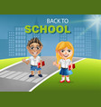 happy school little girl and boy cartoon vector image