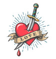 heart pierced a knife tattoo vector image vector image