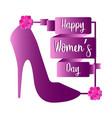 high heel shoe with roses happy women day vector image vector image