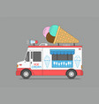 ice cream truck mobile shop vector image vector image