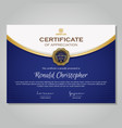 luxury gold blue certificate template vector image vector image