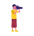 media broadcasting crew cameraman or tv reporter vector image vector image