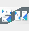 modern blue triangle business card design vector image vector image
