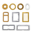 porthole realistic icon set vector image