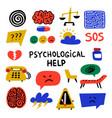 psychology psychological help set of hand drawn vector image