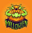 pumpkin smoke halloween vector image vector image