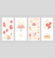 set birthday greeting cards vector image vector image