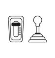 set car mechanic and automatic gearbox on white vector image vector image