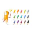 set of cute pencils cartoon education school vector image vector image