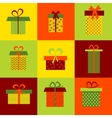 Set of nine different gift boxes on colorful vector image vector image