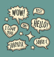 set speech and thought bubbles vintage vector image
