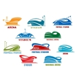 Stadiums and sport arenas abstract icons vector image vector image