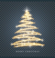 stylized gold merry christmas tree silhouette from vector image