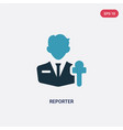 two color reporter icon from professions jobs vector image