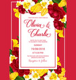 wedding celebration invitation with spring flower vector image vector image