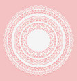 white lace napkin on a pink background openwork vector image vector image