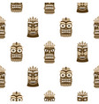 Wooden tiki mask seamless pattern