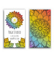 yoga studio business card with mandala design vector image