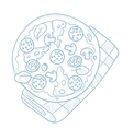Delicious pizza with salami vector image
