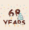 68 years happy birthday card vector image vector image