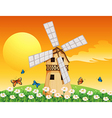 a wooden windmill at garden vector image