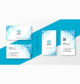 abstract blue halftone business card design set vector image vector image