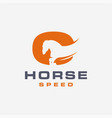 abstract minimalist fast horse logo icon template vector image