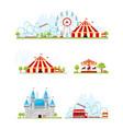 amusement park banner set vector image vector image