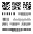 barcodes supermarket scan code bars and qr codes vector image vector image