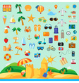 Beach holiday icon set flat design vector image vector image