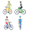 bicyclists wearing costumes vector image vector image