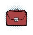 Brown business briefcase comics icon vector image vector image
