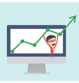 Business money man hang on the positive graph vector image