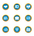 business publication icons set flat style vector image vector image