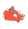 cartoon canada map icon in comic style canada vector image