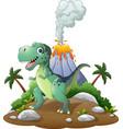 cartoon happy dinosaur in the prehistoric backgrou vector image vector image