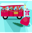 Christmas bus with bears vector image