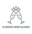 clinking wine glasses line icon clinking vector image