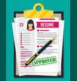 clipboard with job application and pen vector image vector image