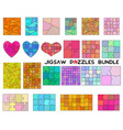 color jigsaw puzzles bundle simple line art style vector image
