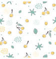 cute seamless pattern with cherries and dotted vector image vector image