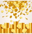 falling from the top a lot of coins vector image vector image