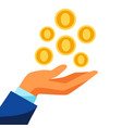 hand and falling money vector image